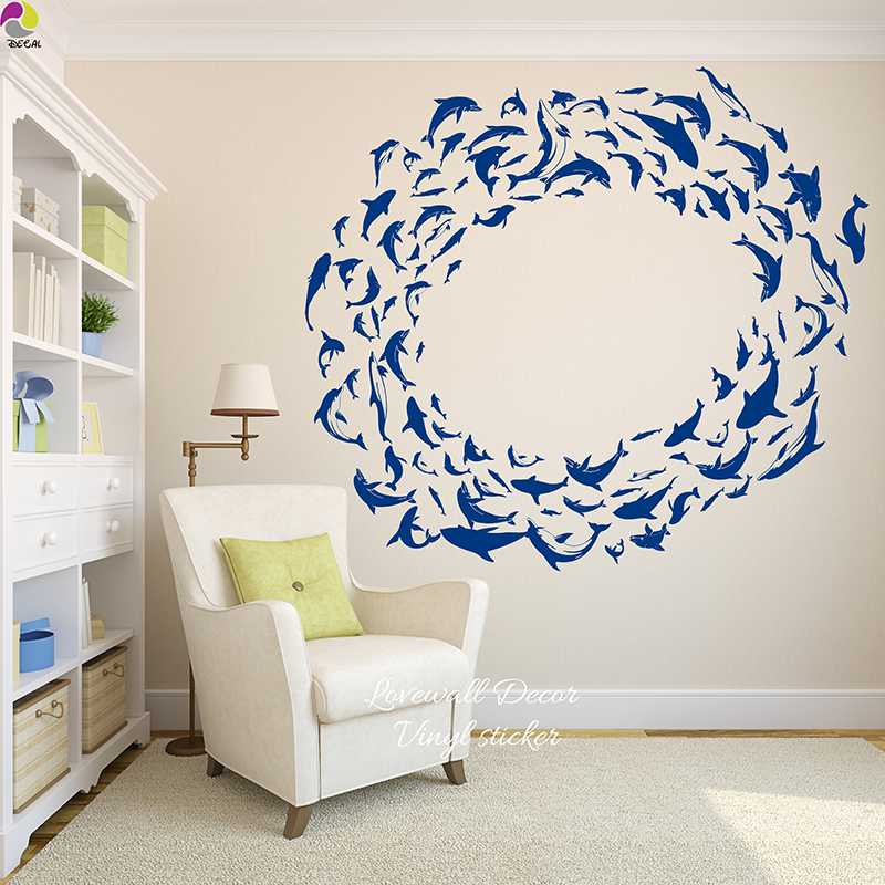 Cute Dolphin Wall Sticker Baby Nursery Cartoon Sea Deniz Fish Wall Decal Kids Room DIY,Wall Art post wallpaper  Vinyl Home Decor