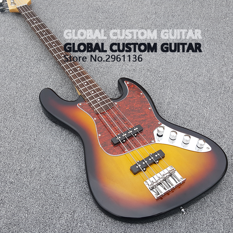 China's guitar,High quality Sunset Color Bass guitar,4 Strings Bass Guitar,Real photo showing free shipping