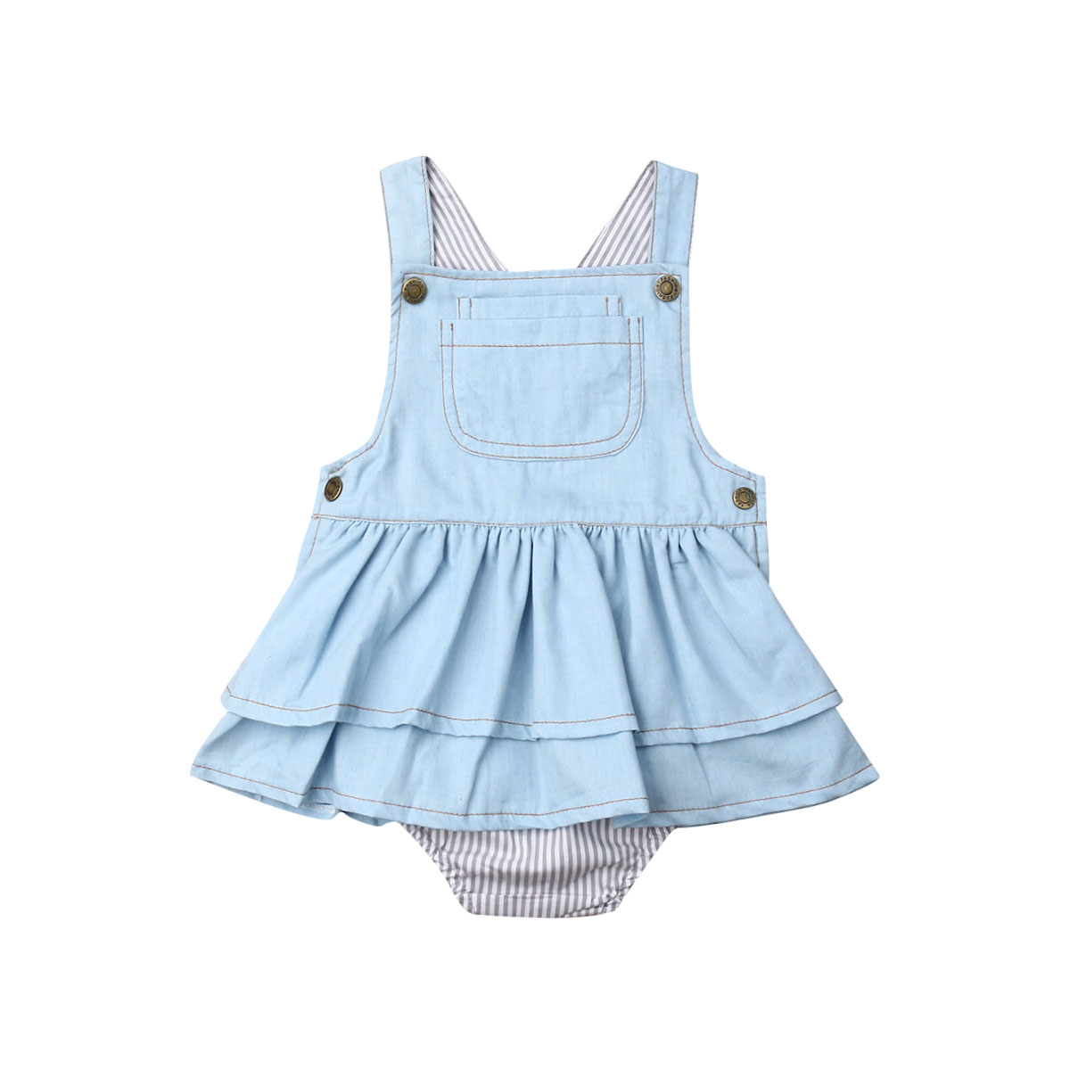 0-4y verão infantil crianças bebê meninas suspender denim macacão azul sem mangas listrado bodysuit outfits