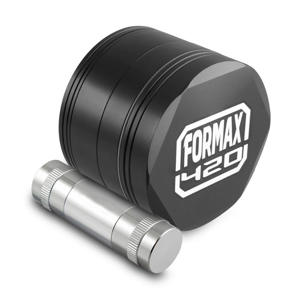 Formax420 62mm Black CNC Metal Hex Herb Grinder 4 Piece Tobacco Grinder With Pollen Scrapper & Pollen Press Free Shipping