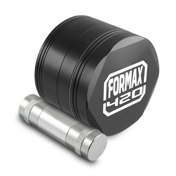 Formax420 62mm Black CNC Metal Hex Herb Grinder 4 Piece Tobacco with Pollen Scrapper & Press Free Shipping