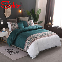 Sisher Classic Solid Color Duvet Covers Set With Pillowcase Luxury Adult Embroidery Bed Linen Bedding Size Single Queen King