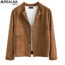 AREALNA 2019 new designer brown Suede Fabric jacket women cardigan Coat Autumn W