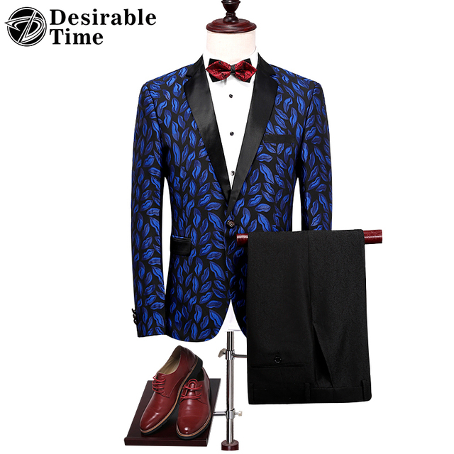 Mens Royal Blue Floral Suit for Wedding Groom Fashion Designer Mens ...