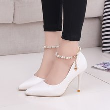 White Women Wedding Shoes Crystal Preal Ankle Strap Bridal Shoes