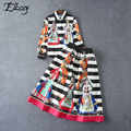 2017 Spring Runway Blouse and Skirt Set Retro Palace Print Woman Clothing Set Ethnic Runway Skirt Set Two Piece Outfits