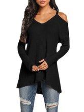 Wanita Sweater Off Bahu Lengan Panjang Longgar Rajutan Sweater Wanita V-neck Knitwear Pullover Top Jumper Padat Tops