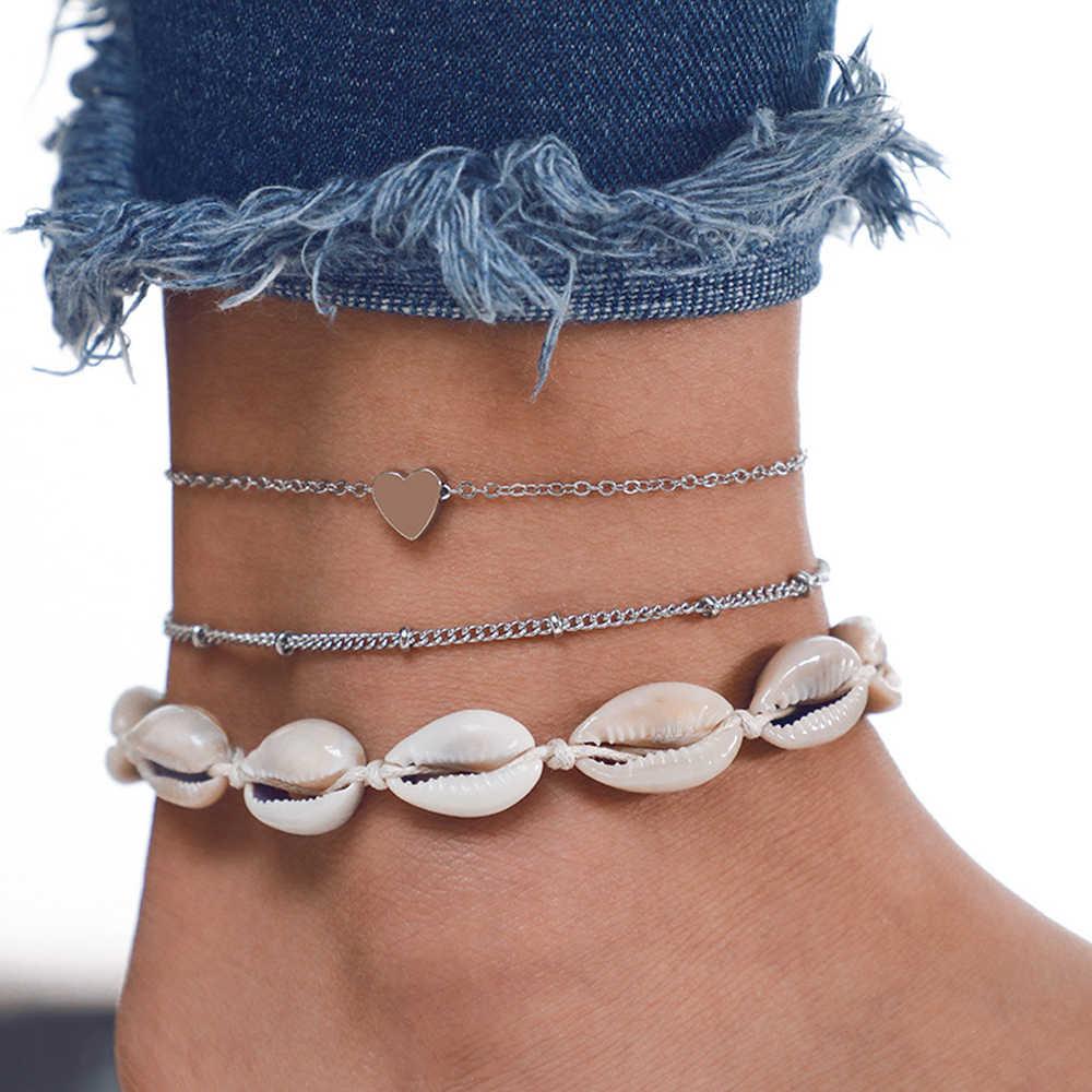 1 ชุดใหม่ Bohemian เชลล์ Anklets สำหรับผู้หญิงหินลูกปัดสร้อยข้อเท้าสร้อยข้อมือ Handmade ฤดูร้อนชายหาดเครื่องประดับอุปกรณ์เสริม