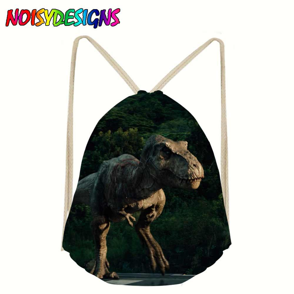Linen Drawstring Bag Women Men Unisex Jurassic World Print Bags Shoes Drawstring Schoolbag Travel Mochila Rucksack Dinosaurs