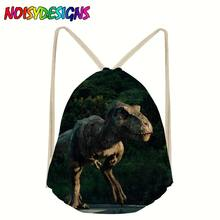 Linen drawstring bag women men Unisex Jurassic World Print Bags shoes Drawstring Schoolbag travel mochila Rucksack Dinosaurs(China)