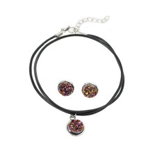 DoreenBeads Handmade Antique Silver Color Drusy Resin Cabochon Pendant Necklace Silver color Earrings 48cm 16x14mm 1 Set