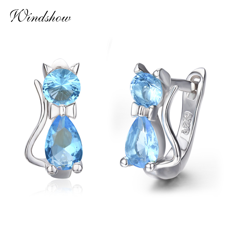 Cute Kitty Kitten Cat CZ 925 Sterling Silver Gatos Small Loo