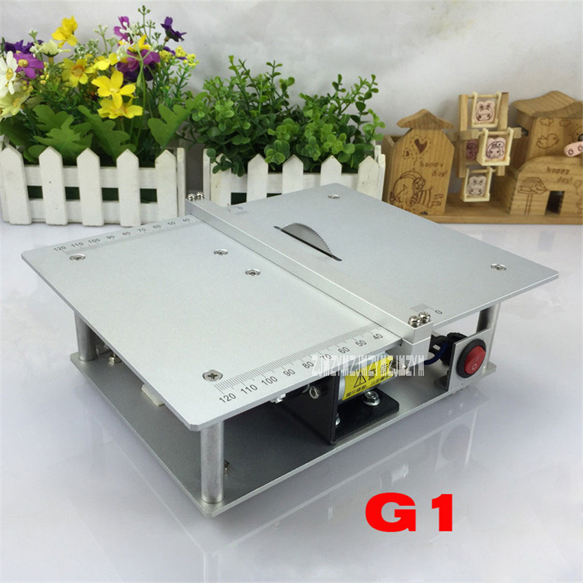 New Precision Table Saw G1 Mini Table Saw Handmade Woodworking Bench Saw DIY Model Saw Cutting Saw Machinery DC-24V/4A 3800r/min 19 24v small bench saw low noise high torque for diy model use with50mm saw portable mini table saw