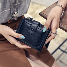 цена на Women Wallet Slim Wallet Lady Snap Fastener Zipper Short Clutch Wallet Solid Letter Fashion Small Female Purse Short Purse