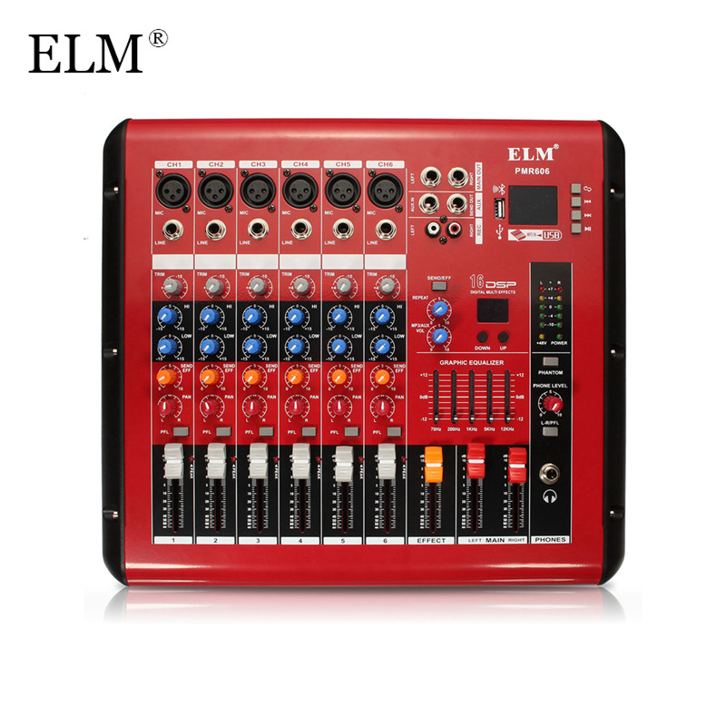 ELM Professional Karaoke Audio Mixer Amplifier Microphone Sound Mixing Console Bluetooth 6 Channel With USB 48V Phantom Power professional 4 channel live mixing studio audio sound console network anchor portable mixing device vocal effect processor