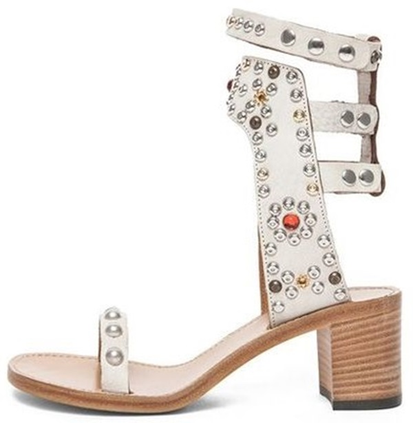 2018 New Summer Style Casual Lady Punk Sandals Woman Fashion Ankle Strap Rome Medium Heel Shoes Rivets Square Sandals M092 women sandals 2018 fashion summer shoes woman rome ankle strap flat sandals casual peep toe gladiator sandals low heel shoes