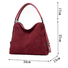 Women's PU stitching suede leather shoulder bag female casual nubuck casual handbag Hobo Messenger bag handbag 3 pieces stitching faux leather handbag set