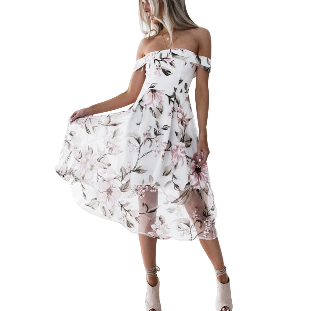 DeRuiLaDy Donne Elegante Flower Stampa Backless Vestito Sexy Off Spalla Summer Long Abiti Moda Casual Party Dress abiti