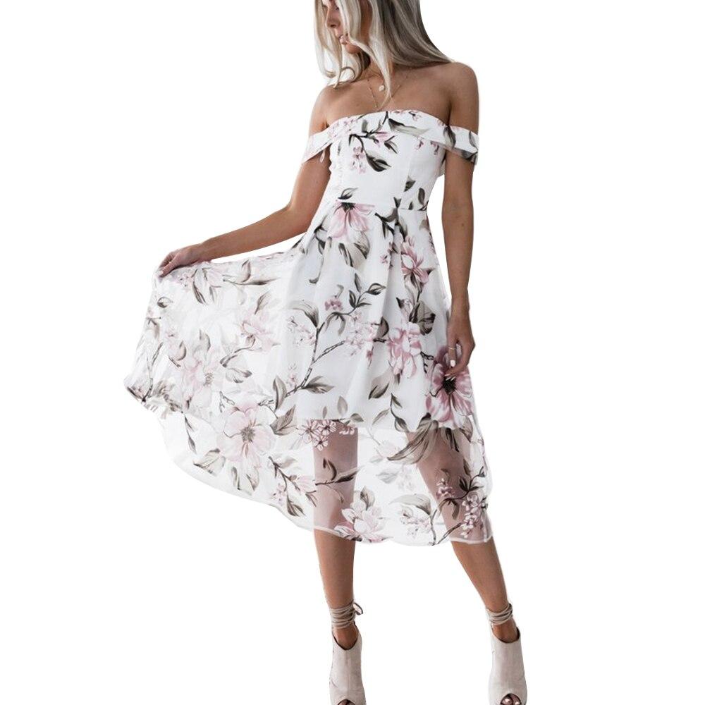 Vestidos largos de verano con hombros descubiertos y espalda descubierta elegantes con estampado de flores para mujer