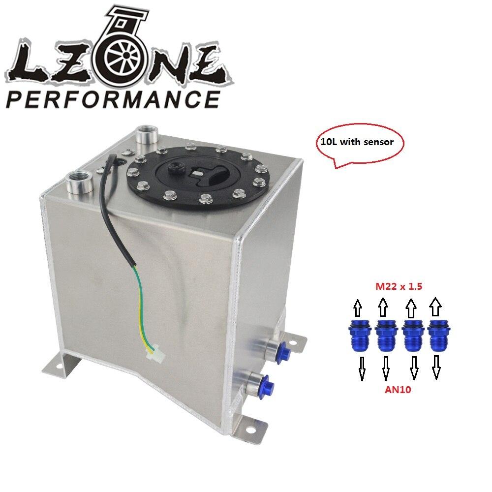 LZONE 10L Aluminum Fuel Surge tank mirror polish Fuel cell with foam inside sensor JR TK38S