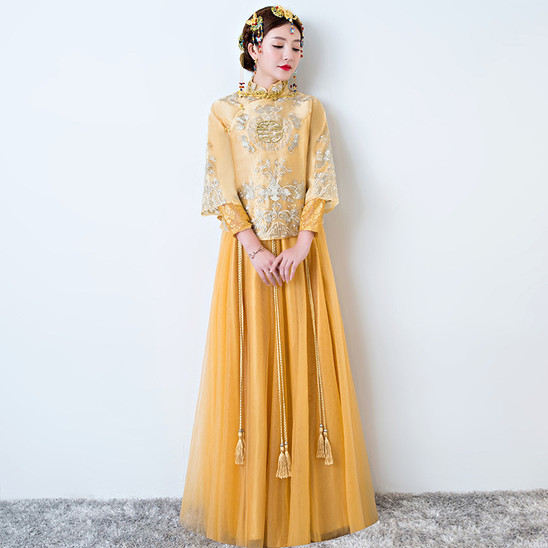 Bride Cheongsam Dress Qipao Yellow Traditional Chinese Wedding Gown Oriental Style Chinois Femme Women Phoenix Embroidery цена