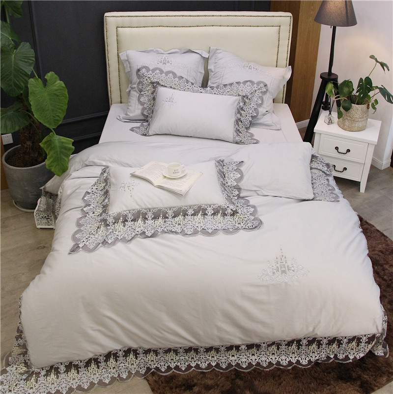 Luxury White Pink 100S Egyptian Cotton Romantic Lace Embroidery Palace Bedding Set Duvet Cover Bed Sheet Bed Linen Pillowcases
