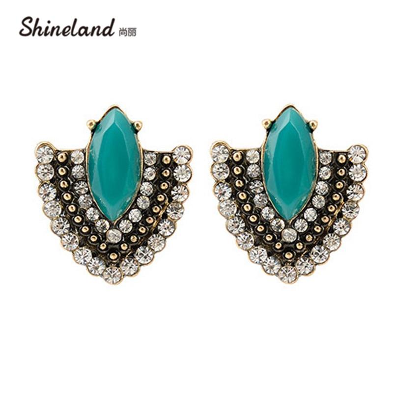 2018 Brincos Vintage Copper Women Green Stone Crystal Zircon Charms Statement Stud Earrings for Women Fashion Girls Jewelry