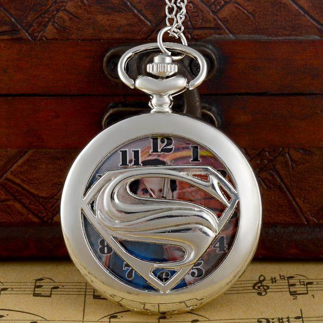 New Arrivals Silver Superman Hollow Quartz Pocket Watch Chains Antique Men Women