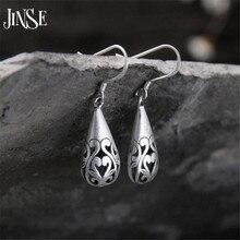 JINSE Wholesale S925 Silver Earring Wedding Jewelry Accessories Fashion Hollow Waterdrop Women Earrings 10mm*21mm