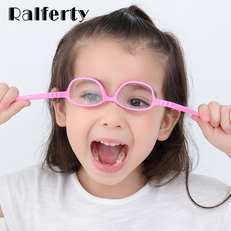 Ralferty Optic Glasses Frame Kids Child Unbreakable TR90 Silica Gel Eyeglasses With Lanyard Myopia Glasses Spectacle Frames K304