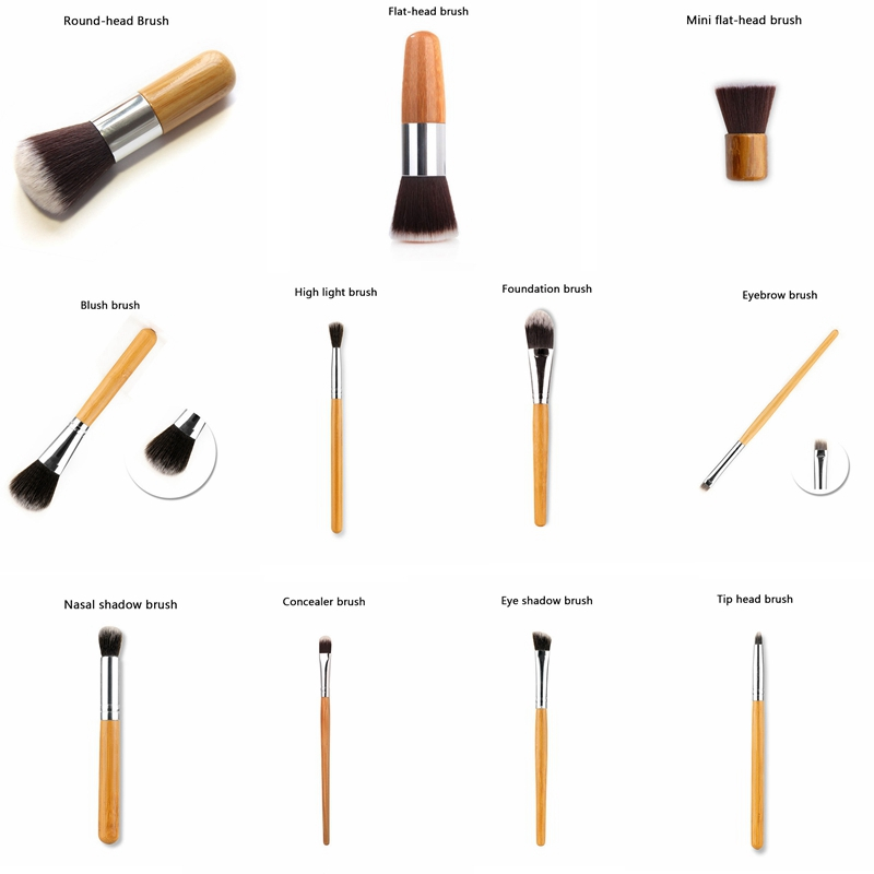 MicroJoy Professional Makeup Brushes Bamboo Handle Powder Concealer Liquid Foundation Makeup Tools Beauty Cosmetics