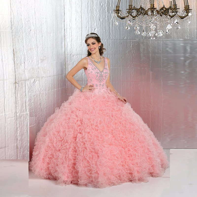 2016-High-Quality-Ruffles-Beading-Organza-Ball-Gown-Quinceanera-Dresses-For-15-Years-Vestidos-Plus-size