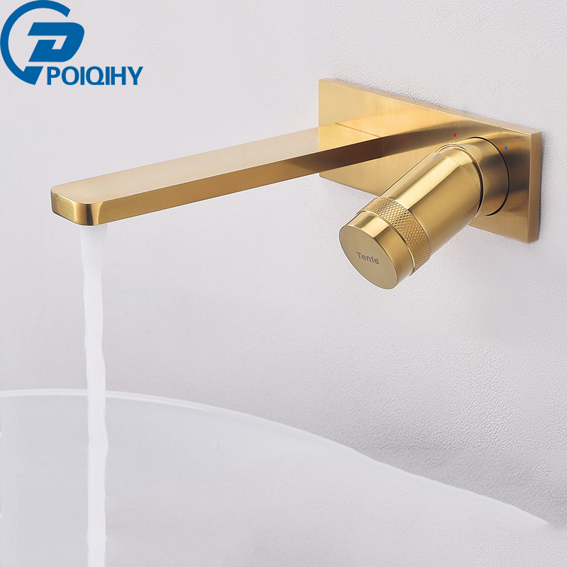 Bathroom Spout Black Gold Wall Mount Tub Bathroom Kitchen Water Faucet