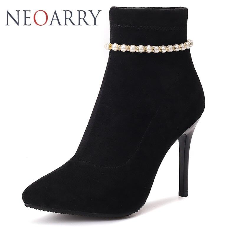 Chaîne Feminina Noir Bota Pour rouge Femme Stiletto Talons on Bottines Zapato Chaussures Neoarry Mujer Pointu Perles Slip Haute Femmes E1gwqB