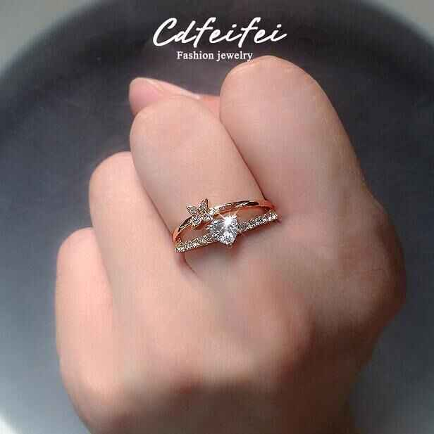 น่ารักหญิงขนาดเล็กหัวใจหมั้นแหวน Boho Luxury Gold Love งานแต่งงานเครื่องประดับสัญญา Zircon แหวนหินสำหรับผู้หญิง
