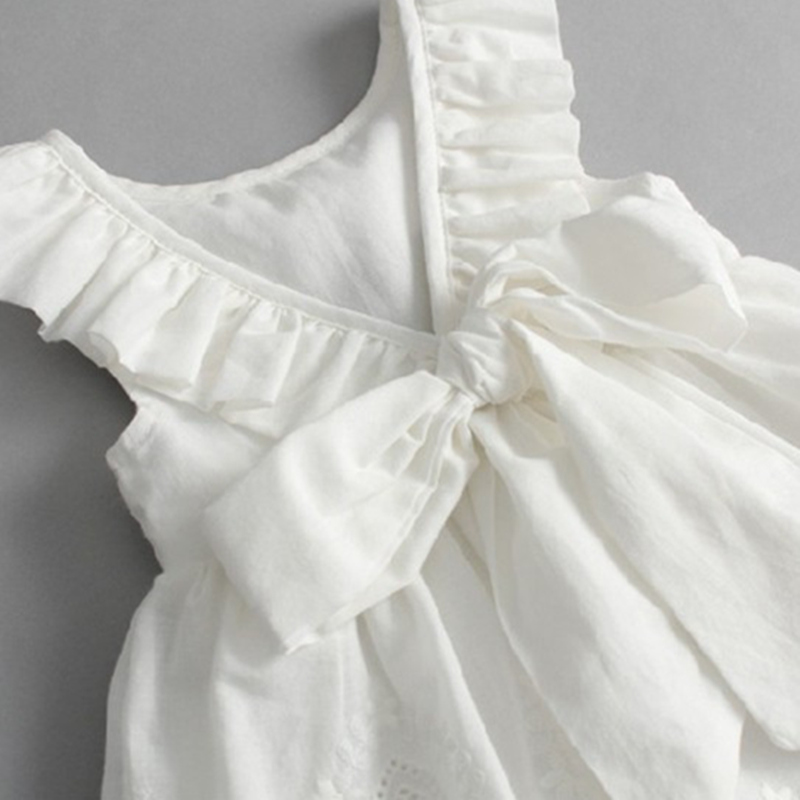 Lace Beach Girls Dress White Halter Hollow Party Backless Dresses For Girls Vintage Toddler Girls Clothes 2 3 4 5 6 7 8 9 years 3