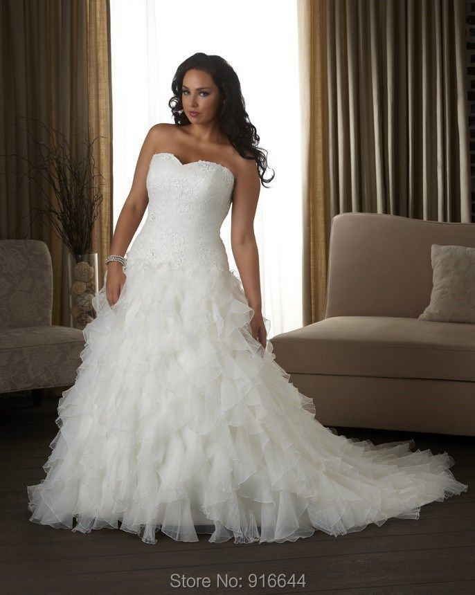 Wedding Dresses For Larger Sizes Of Robe De Mariage Custom Made Organza Ruffles Applique