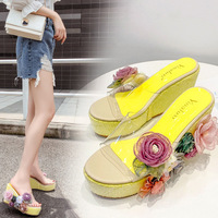 Thick bottomed embroidered wedge heels summer brand new fashion wild slippers flower rhinestone sequins Bling fish mouth sandals