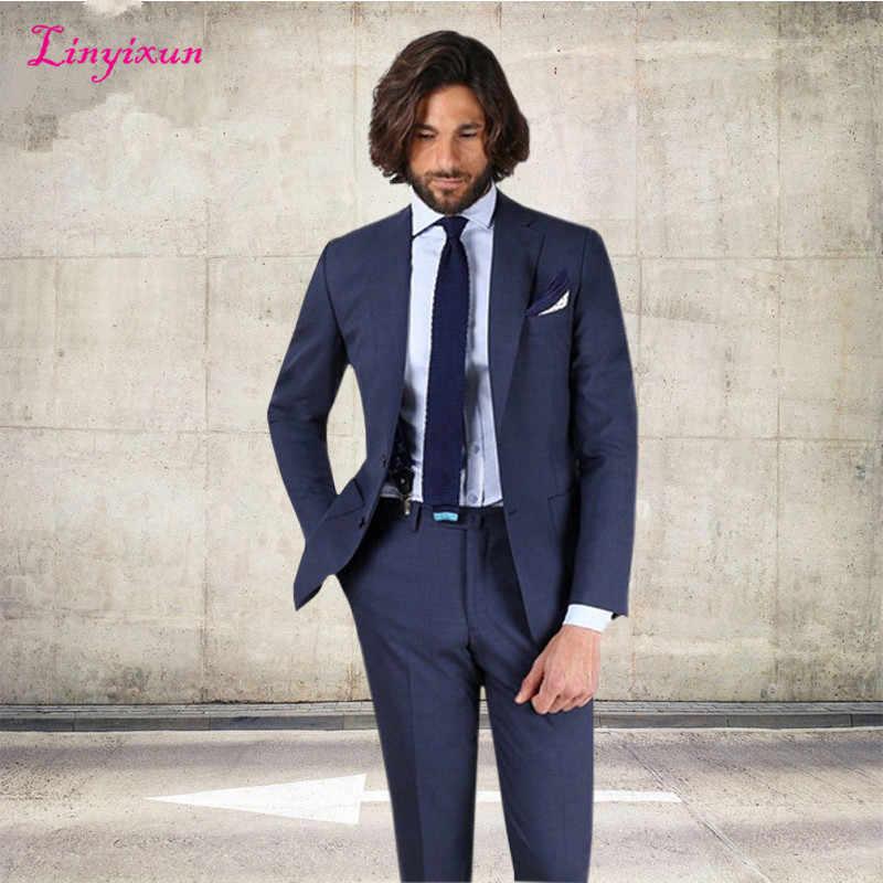 Linyixun 2018喫煙カスタムメイド海軍ブーレ男性スーツファッションブレザー別注古典タキシードフォーマルオフィスドレス男性