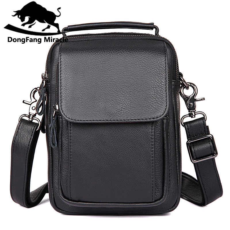 DongFang Miracle New Genuine Leather Mini IPAD Bag top-handle Men Shoulder Crossbody Bags Messenger Small Flap Casual men Bag dongfang miracle high quality genuine leather men messenger bags casual shoulder bag male multifuntional small bag
