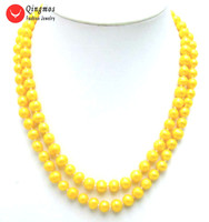 Qingmos Yellow Natural Pearl Necklace for Women with 6 7mm Round Freshwater Pearl 2 Strands 17 18 Chokers Necklace Jewelry 5425