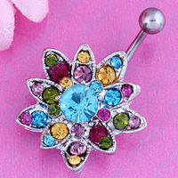 1pc Fashion Stainless Rhinestone Crystal Belly Navel Button Bar Ring Piercing Flower Design free shipping Brand New nickel-free