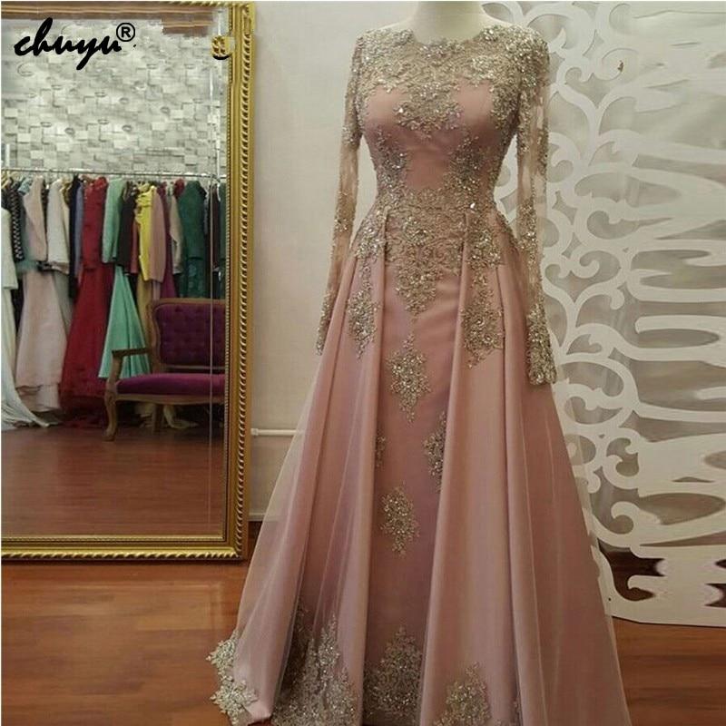 Pink Muslim   Evening     Dresses   2019 A-line Long Sleeves Pearls Lace Islamic Dubai Kaftan Saudi Arabic Long Formal   Evening   Gown