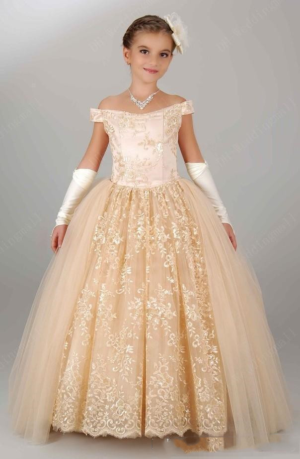 Wedding Off Shoulder Lace Champagne Princess Party Children For Birthday Cheap   Girl   Pageant Gown Vintage   Flower     Girls     Dresses