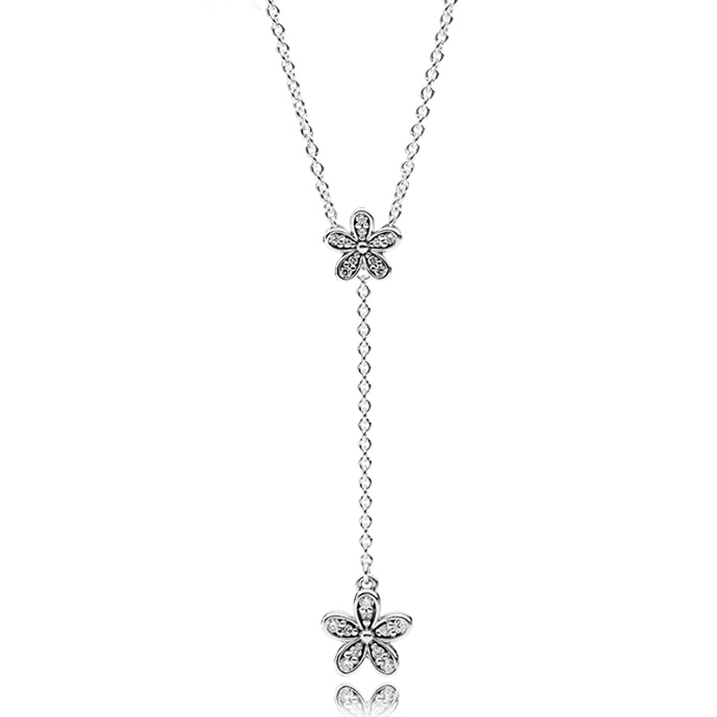 New 925 Sterling Silver Necklace Dazzling Daisies With Cubic Zirconia Pendant Necklace Women Wedding Gift Fine Pandora Jewelry tongzhe 2018 evil eye necklace 925 sterling silver cubic zirconia gold pendant necklace women new zealand jewelry collares