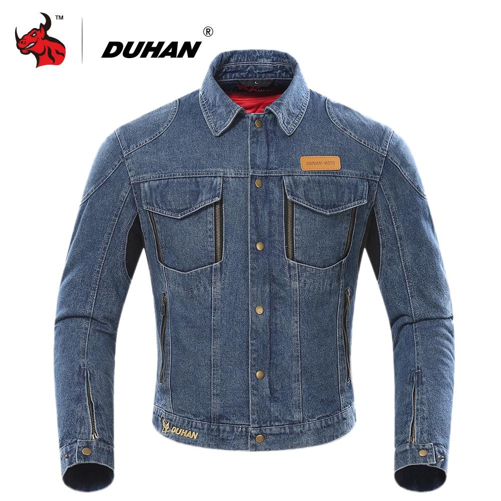 DUHAN Motorcycle Jacket Men Moto Denim Jacket Cold-proof Keep Warm Moto Jacket Protective Gear Whith Removable Cotton Lining men destroyed denim jacket