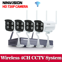 New 1 0 MP FULL HD Wifi CCTV Camera System Kit 4CH Wireless NVR Kit