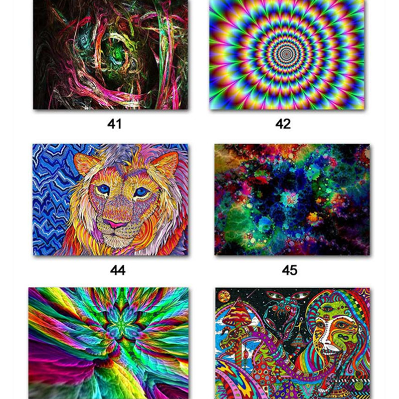 Popular Silk Cloth Print Poster Wall Pictures Psychedelic Acid Lsd Painting For Living Room Bedroom Decoration Home Decor Gift
