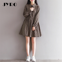 JYRO Brand Mori Women S Dresses New Winter Art Printing Long Loose Large Size Above Knee