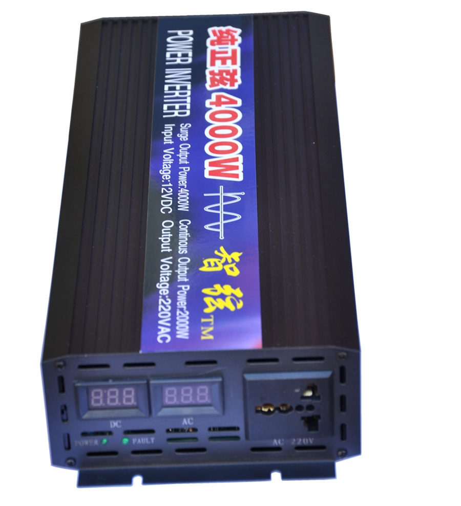 Dual LED Display Peak 4000W Pure Sine Wave OFF Grid Inverter DC12V/24V to AC220V Power Inverter Converter Houseuse Solar System digital display 6000w peak 3000w pure sine wave power inverter converter 12v dc to 220v 230v 240v ac